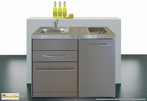 bloc cuisine evier frigo plaque mini cuisine inox avec lave vaisselle et vitrocéramiques