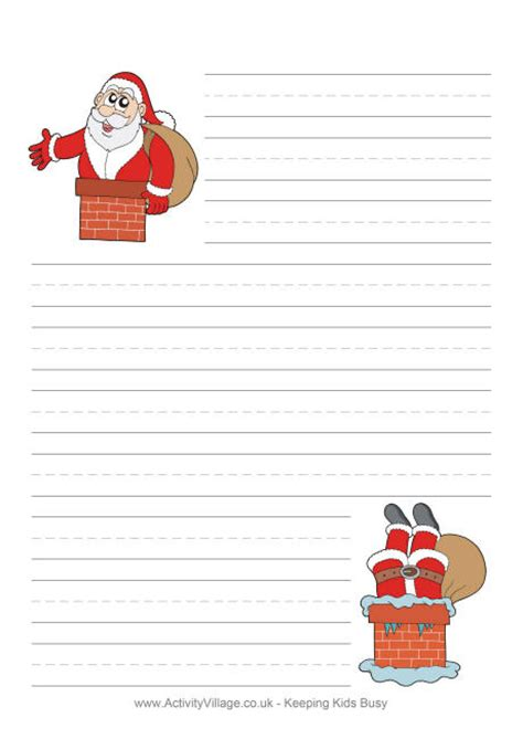 santa  chimney writing paper