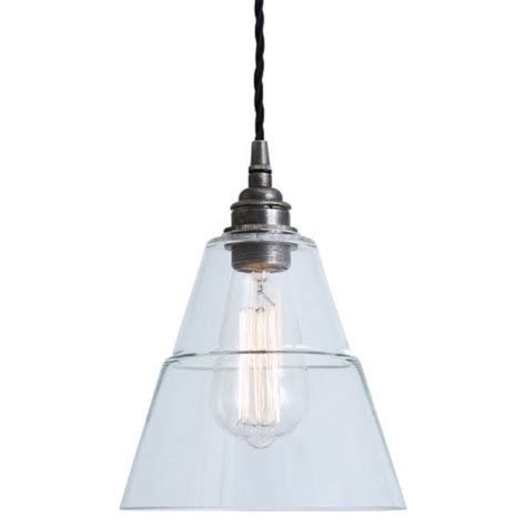 small ceiling pendant with clear glass shade on antique