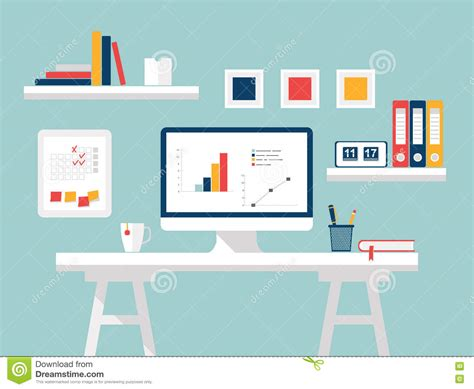 home design for pc home office flat design vector illustration of modern