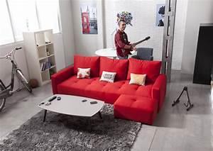 Canapé Contemporain Tissu : acheter votre canap contemporain 3 places en tissu rouge chez simeuble ~ Teatrodelosmanantiales.com Idées de Décoration