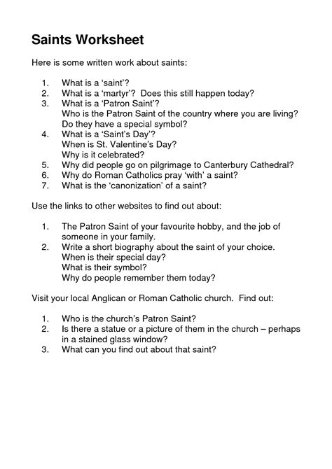awesome worksheets   saints day images