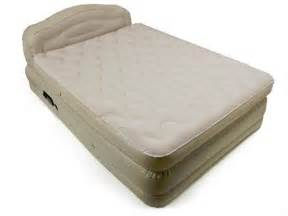 yugster serta raised deluxe queen air bed with headboard