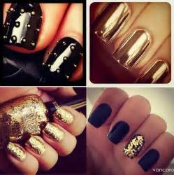 Gold and black nail design color me bad
