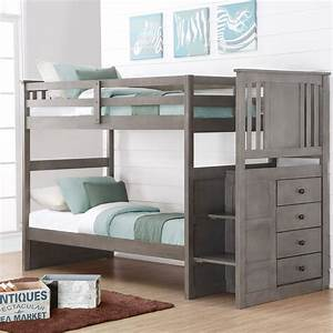 Donco, Kids, Twin, Over, Twin, Stairway, Bunk, Bed, -, Slate, Gray