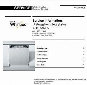 Whirlpool Adg 50205 Dishwasher Service Information Manual