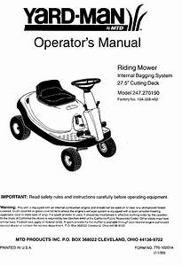 Craftsman 247270190 User Manual Riding Mower Manuals And