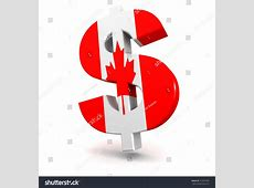 Three Dimensional Render Canadian Dollar Symbol Stock