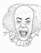 Clown Pennywise Coloring Horror Killer Drawing Wise Penny Deviantart Template Halloween Sketch Ausmalen Zum Drawings Stevenwilcox Colouring Stephen King Colorear sketch template