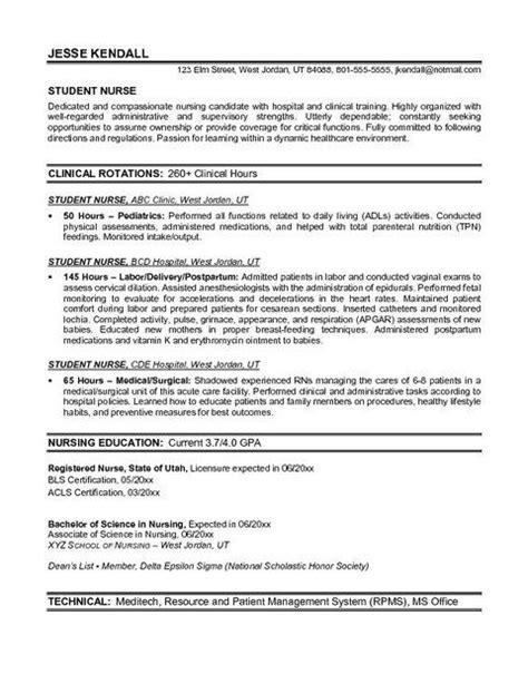 Sle Nursing Resume Templates by Nursing Student Resume Templates Student Resume