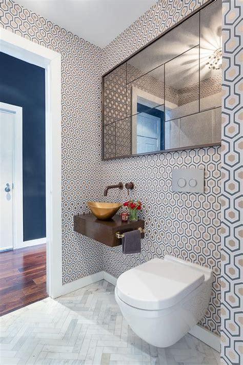 contemporary powder room  floating sink vanity