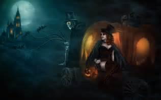Halloween Pumpkin Backgrounds Desktop Witch Wallpaper Wallpapersafari