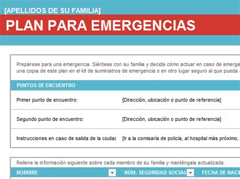 plan de emergencias familiar plan de emergencia familiar office templates