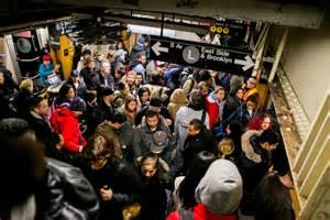 New York City Crowded Subway Train