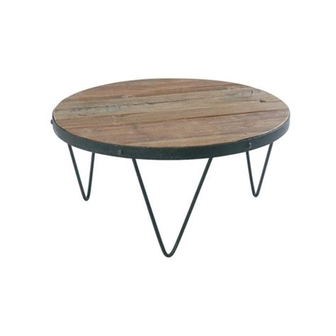 table basse ronde industrielle 80cm orme recycl 233 synergie pier import