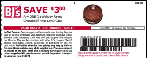 bjs printable coupons last day to print 3 wellsely farms chocolate 3 layer 20619 | bjscakecoupon