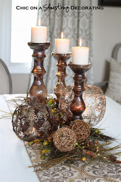 chic   shoestring decorating fall centerpiece  pier