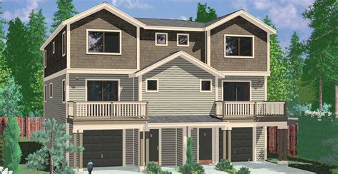 two craftsman style house plans town house and condo plans multi family and townhome