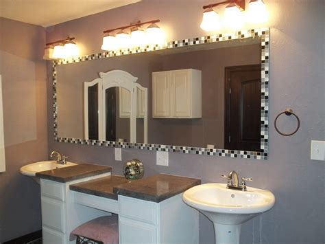 Custom Framed Mirrors For Bathrooms by New Frame A Bathroom Mirror With Tile Dkbzaweb