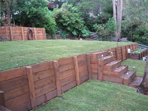 small timber retaining wall contact us for all your timber retaining wall requirments in the sydney area house retaining