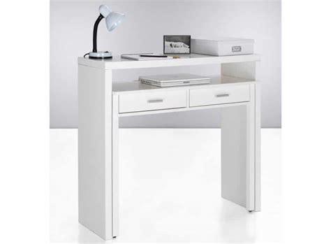 console bureau pin la console bureau munie de deux tiroirs laquée blanc