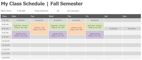 excel class schedule template semester class schedule