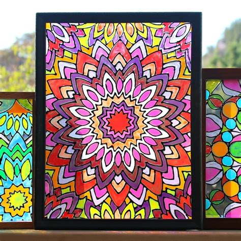 faux stained glass mandalas     window