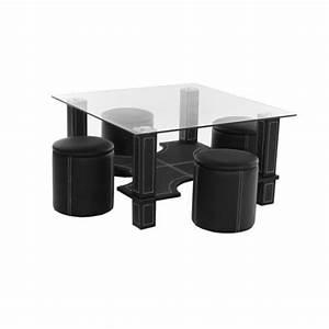 Table Basse Pouf Intégré : table basse magda 4 poufs noir ~ Dallasstarsshop.com Idées de Décoration