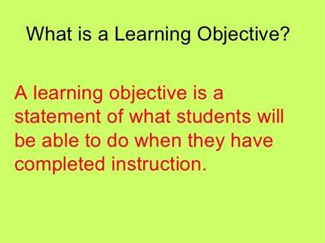 What To Write As An Objective On A Resume by Learning Objectives