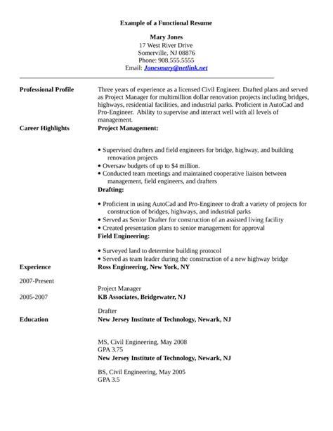 Functional Civil Engineer Resume Template