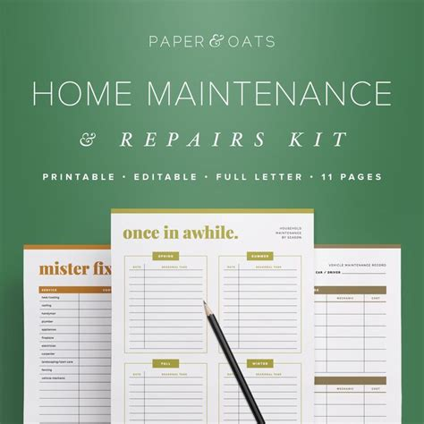 home maintenance kit household binder household
