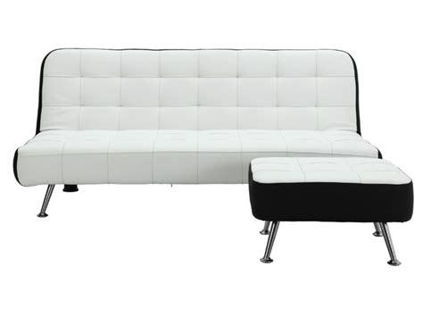 canape simili blanc canapé clic clac et pouf en simili noir ou blanc murni