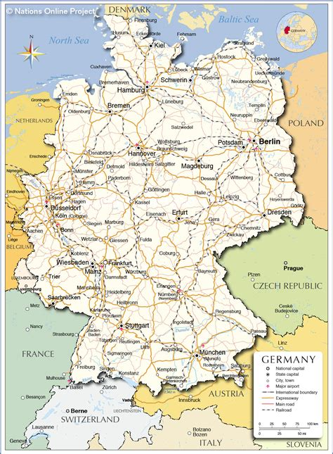 political map  germany nations  project
