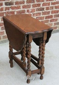 antique english barley twist table gate leg drop leaf
