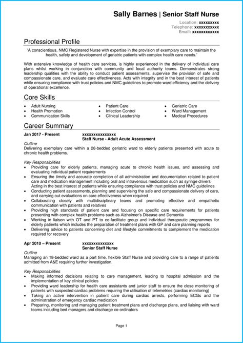 Nursing Cv by Nursing Cv Exle With Writing Guide Cv Template Get