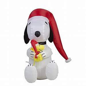 Peanuts 4 Ft Lighted Snoopy Christmas Inflatable Peanuts Outdoor Christmas Decorations Funk This House