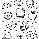 Lunch Doodles Doodle Coloring Colouring sketch template