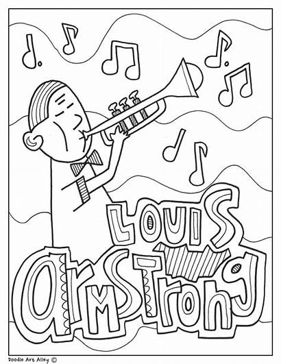 Armstrong Louis History Month Coloring Classroom Printables