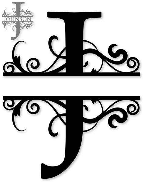 """Completely free svg files for cricut, silhouette, sizzix and many other svg compatible electronic cutting machines. """"J"""" Split Monogram 
