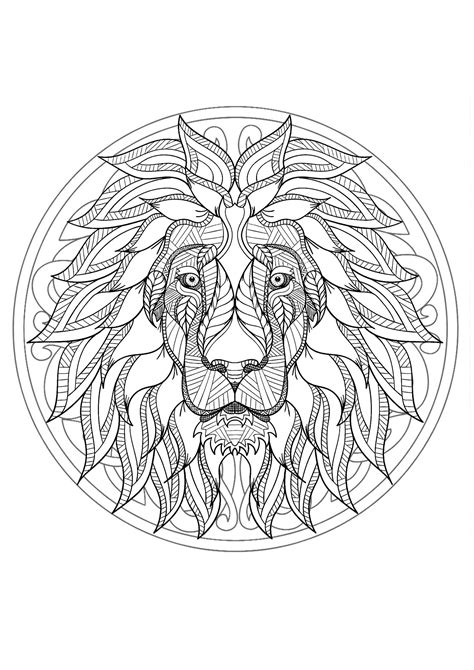 complex mandala coloring page  majestic lion head  difficult mandalas  adults