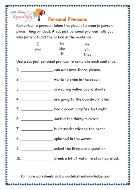 worksheet on pronouns for grade 3 grade 3 grammar topic 10 personal pronouns worksheets