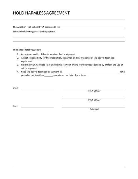Hold Harmless Waiver Template by 40 Hold Harmless Agreement Templates Free Template Lab