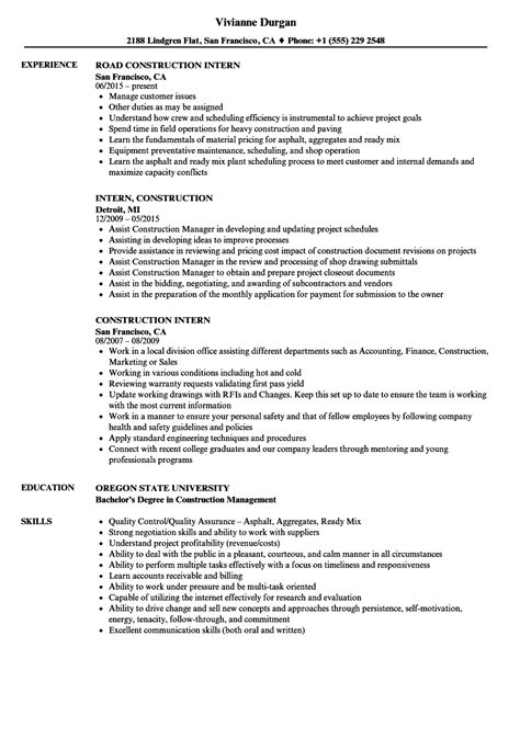 Construction Experience Resume Amazing Construction