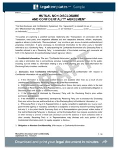 non disclosure agreement template create a free nda form templates