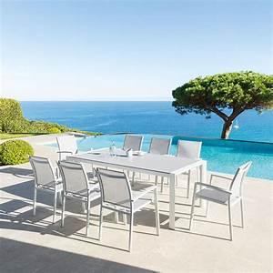 Table De Jardin 8 Places : table de jardin rectangulaire titanium perle blanc mat hesp ride 8 places ~ Teatrodelosmanantiales.com Idées de Décoration