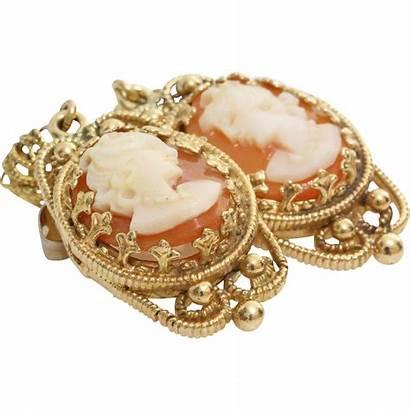 Earrings Cameo 14k Drop Yellow Gold Shell