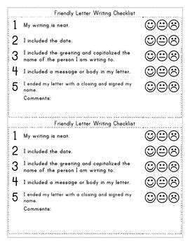 friendly letter templates  examples  rubric