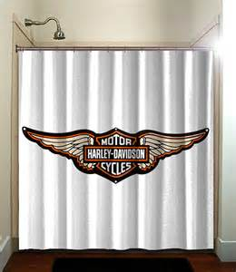 harley davidson wings batch shower curtain bathroom home