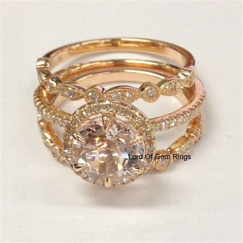 3 wedding ring sets art deco morganite diamond engagement ring 14k rose gold ebay
