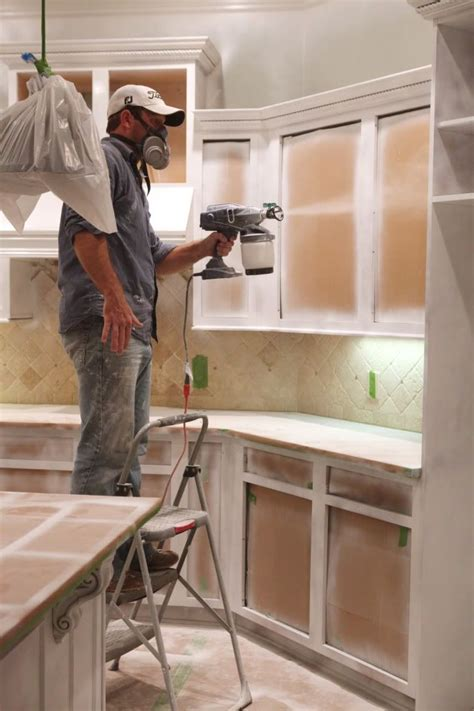 painting kitchen cabinets with sprayer cabinet spray painting calgary cabinets matttroy 7345